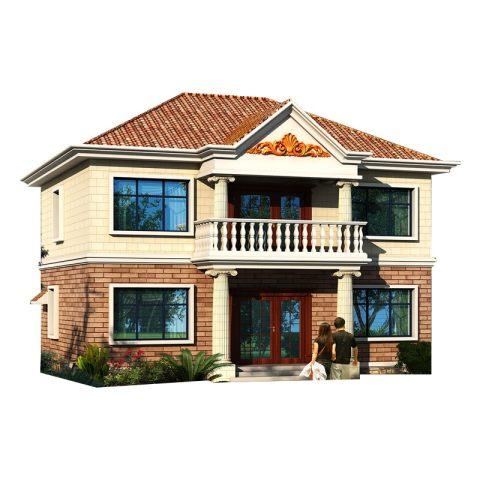 欧式二层带堂屋经济实用乡下农村自建房别墅设计图纸