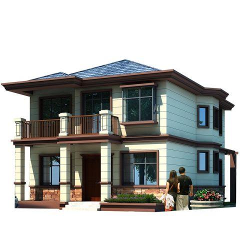 新中式二层带车库柴火房乡下农村实用自建房别墅设计图纸