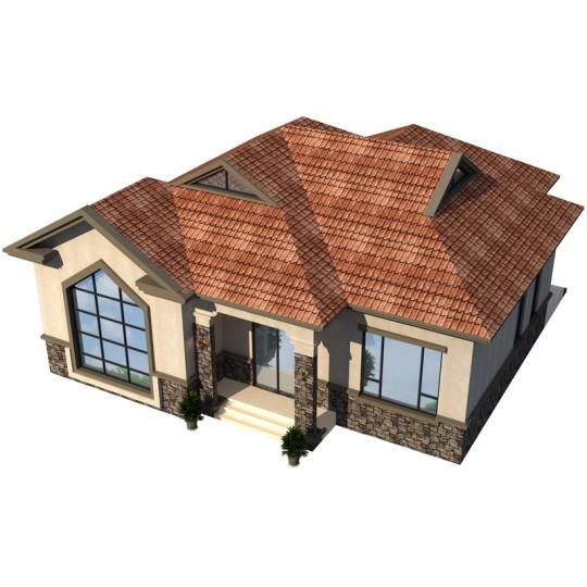 占地13.6*13.6一层自建房经济型乡村平房-全套设计图纸