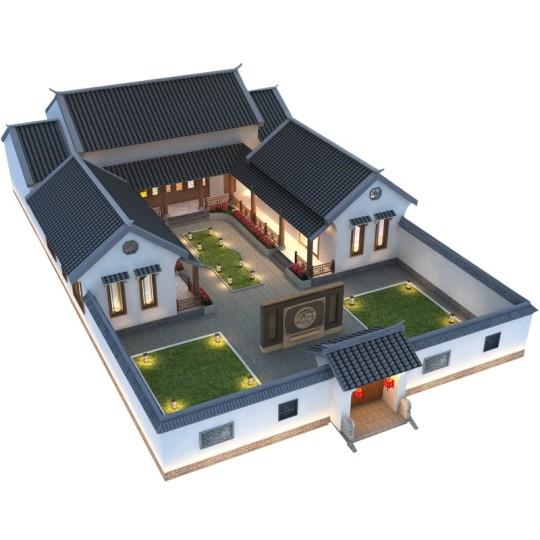 占地18*20,新农村一层合院别墅-全套设计图纸