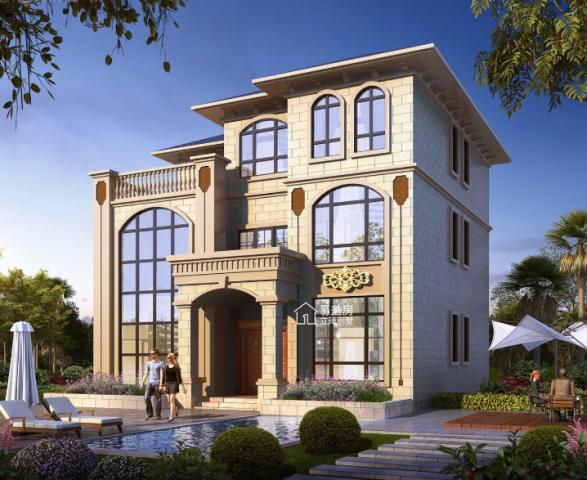 占地13x12三层带露台欧式自建别墅设计全套施工图