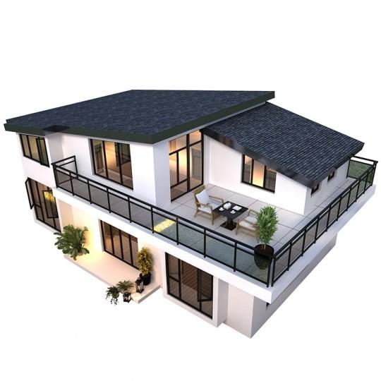 占地14*8米,一层带阁楼现代风格单层别墅设计图纸
