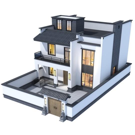 占地11*12,新中式二层现代别墅带院子全套设计图纸
