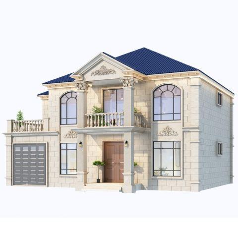 占地16*13,2021新款二层简欧带车库自建房全套设计图纸