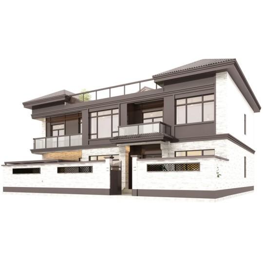 占地18*15;现代二层半别墅小洋房设计图纸带阳台