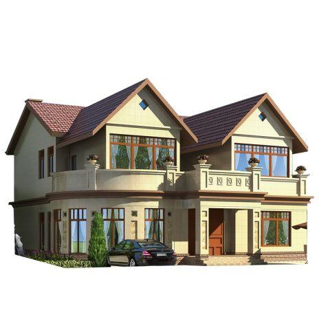 占地14*14;欧式二层带堂屋新潮乡下农村自建房别墅设计图纸