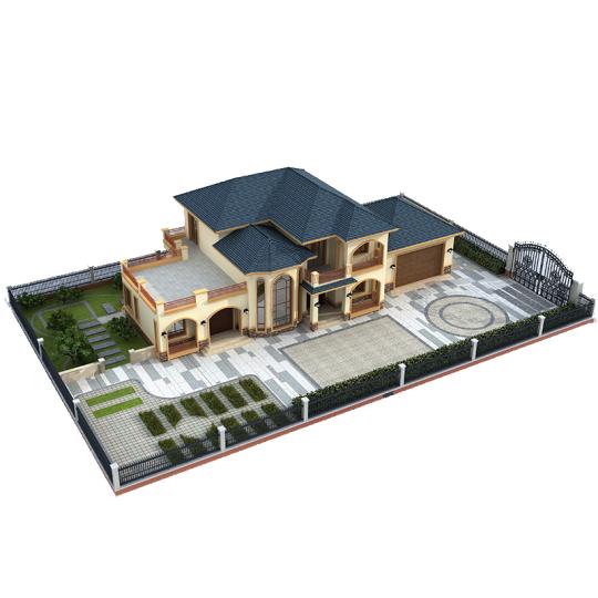 占地19.6*13,二层欧式带堂屋柴火房中复式空客厅别墅全套设计施工图