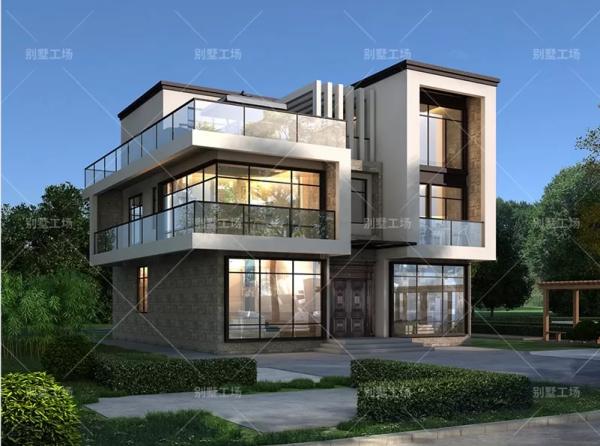 农村别墅现代简约风格,三层时尚可做办公楼-全套设计图纸