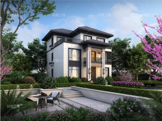 占地11*12,三层新中式农村自建别墅设计全套图纸