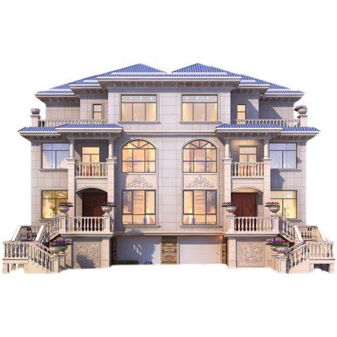 网红四层双拼别墅设计图纸房屋农村自建房设计效果图豪华欧式
