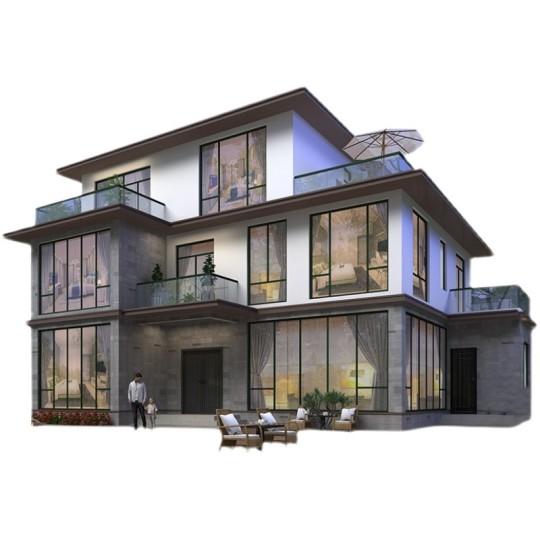 二层半现代风网红豪华别墅设计图农村自建房房屋设计图纸效果图