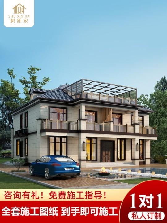 二层别墅设计图纸新中式新农村自建房带阳光房样图效果图全套乡村