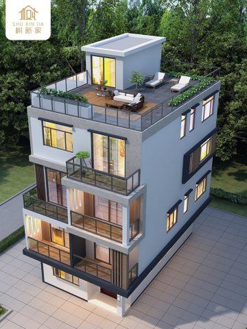 新款自建房别墅设计图纸四层现代风农村建房施工图效果图全套