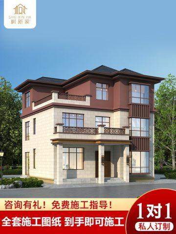 新款别墅设计图纸三层农村盖房自建房屋设计新中式样图效果图