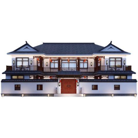 三四合院中式别墅设计图纸效果图农村自建房图纸