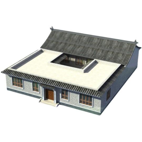 中式别墅设计图纸一层带中庭农村自建房设计图纸徽派设计效果图