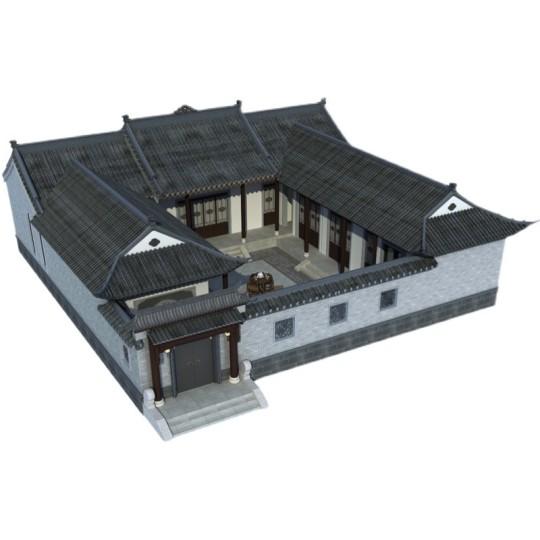 一层中式四合院自建房设计图纸徽派别墅设计带院子效果图