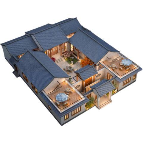 新农村一层中式四合院设计图纸带院中式自建房设计豪华新中式房子