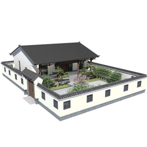 新农村中式别墅设计图纸一层自建房带院乡下中国风养老房老人134
