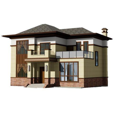 二层新中式别墅设计图纸农村两层自建房乡村小房屋房子经济型,方案二