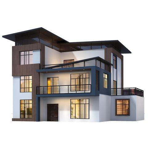 YK3202新农村别墅设计图纸三层楼房屋现代风新款乡村自建房效果图
