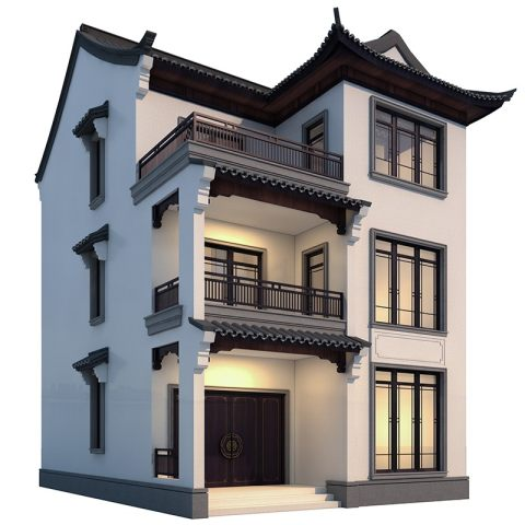 网红新款别墅设计图纸三层带堂屋新中式房子农村自建房小户型3268