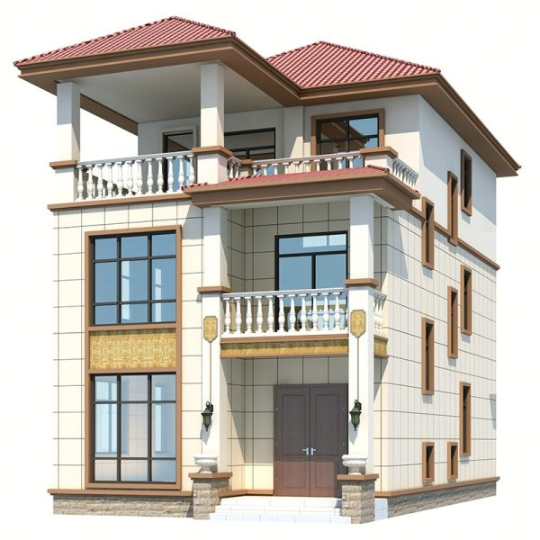 农村别墅新款二层半新农村自建房设计图三层复式楼盖房子乡村3271