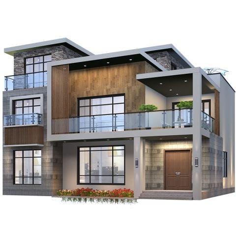 新款农村自建房设计图现代风平顶别墅设计图纸三层豪华样图效果图