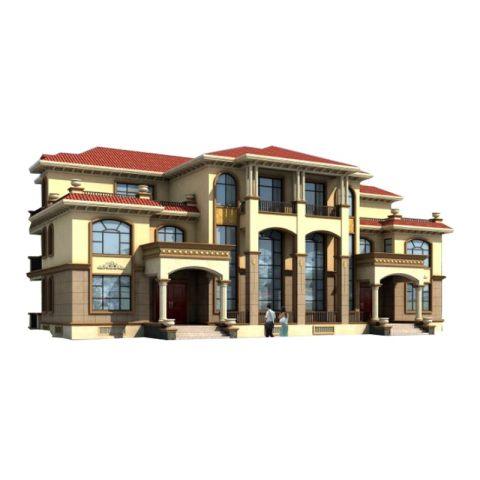 YS349占地28X14三层农村自建别墅欧式风格