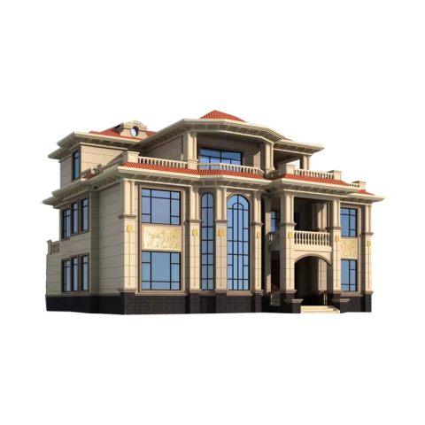 YS351占地18X16三层农村自建别墅欧式风格