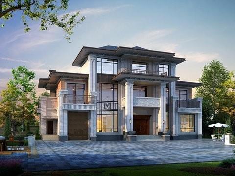 三层占地264平农村自建房施工平面效果图纸全套