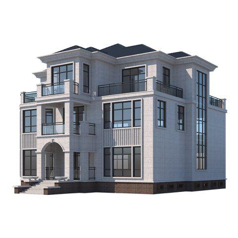 三层欧式带堂屋自建别墅全套设计图纸