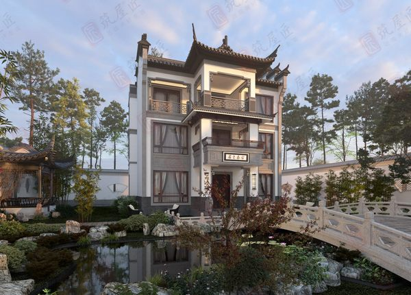 占地141平三层新中式别墅