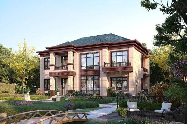 Y5-新中式二层小别墅复式客厅 - 5大阳台设计